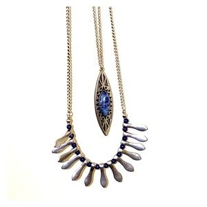 Long, layered necklace